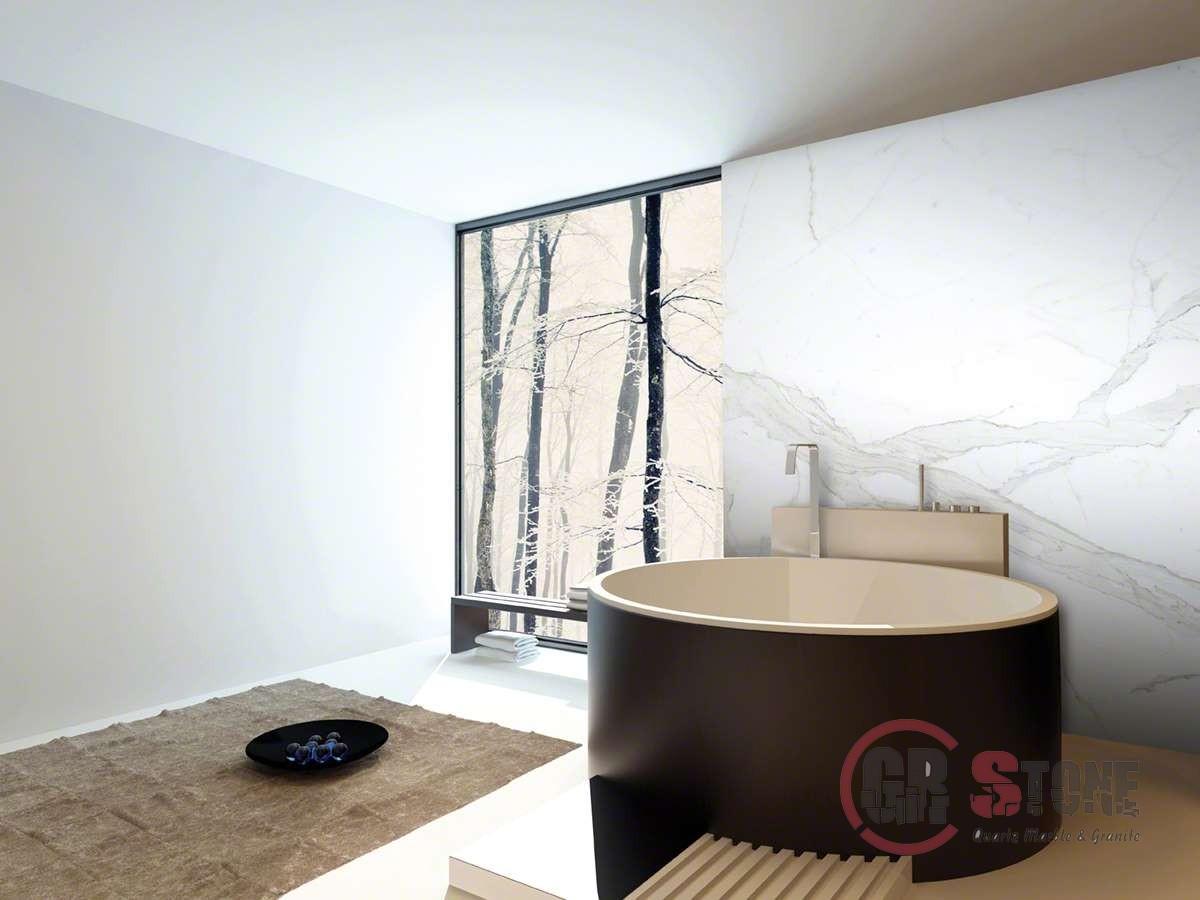 3D Rendering of Contemporary design luxury bathroom interior wit